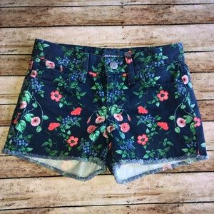 Old Navy Shorty Floral Blue Denim Mini Shorts Sz 7